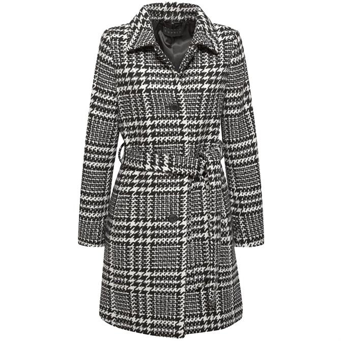 Esprit Houndstooth Check Belted Wool Blend Coat