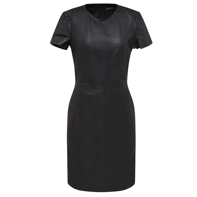 Esprit Lamb Leather Short Sleeve Shift Dress