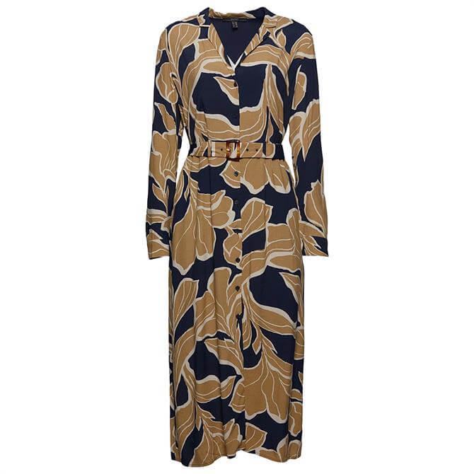 Esprit Floral Print Belted Midi Shirt Dress