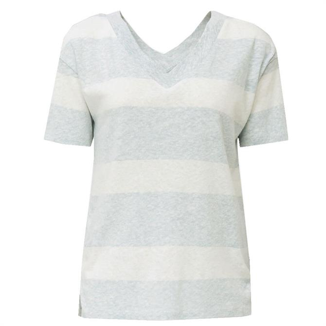 Esprit Linen Blend Short Sleeve Wide Stripe Top