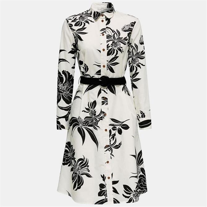Esprit Floral Midi Dress With Braided Belt