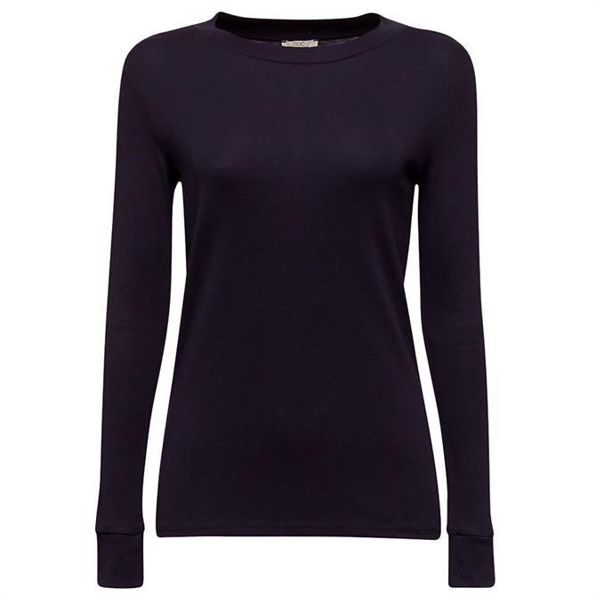Esprit Long Sleeve Navy Organic Cotton Top