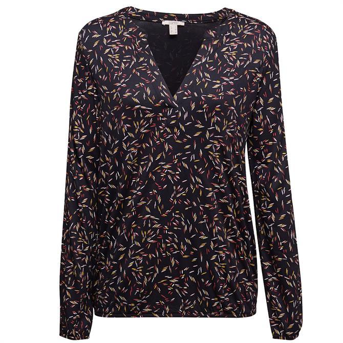 Esprit Long Sleeve Floral Print Viscose Top