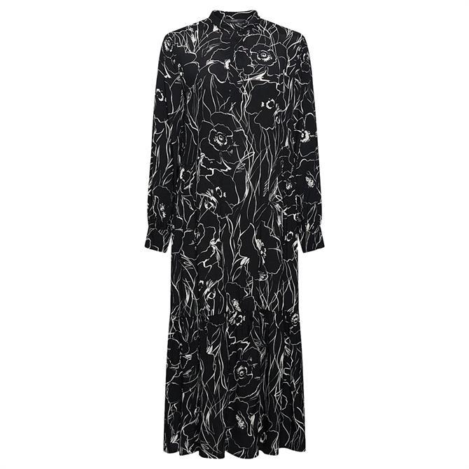 Esprit Monochrome Floral Print Long Sleeve Midi Dress
