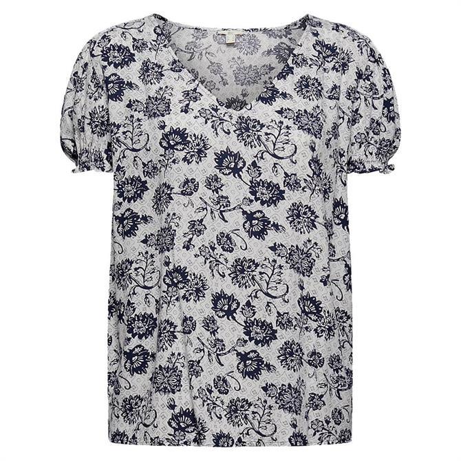 Esprit Short Sleeve Paisley Print V Neck Top