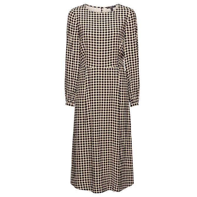 Esprit Flared Polka Dot Print Midi Dress