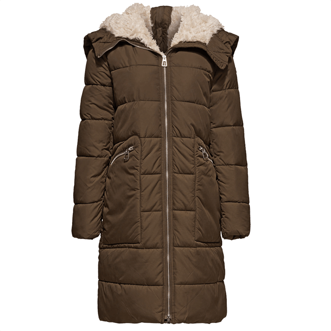 Esprit Shearling Trim Quilted Hooded Coat