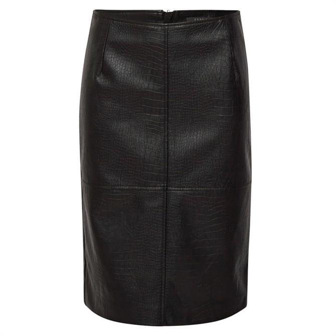 Esprit Croc Look PU Pencil Skirt