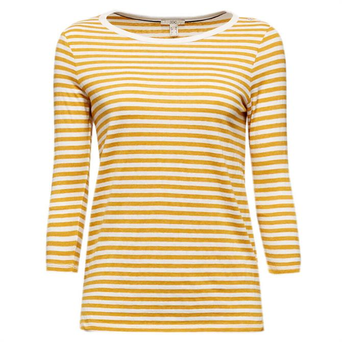 Esprit 3/4 Sleeve Striped Organic Cotton and Recycled Polyester Top