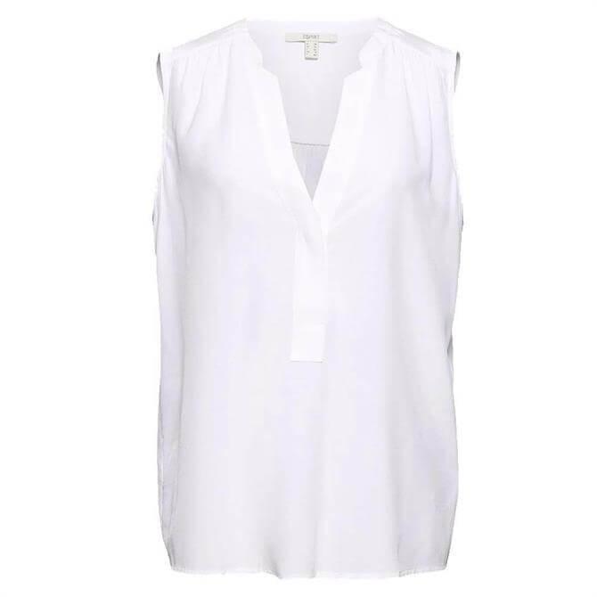 Esprit Sleeveless Henley Neckline White Blouse