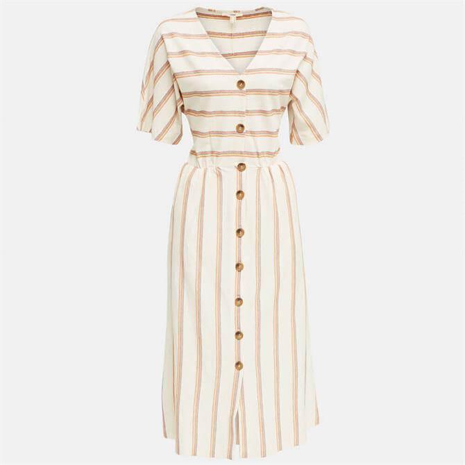 Esprit Striped Button-Through Midi Dress