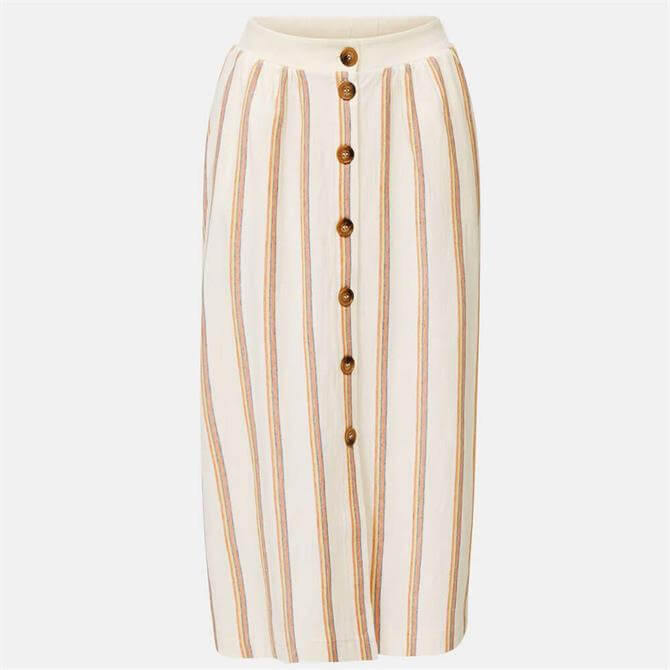 Esprit Button Through Striped Midi Skirt
