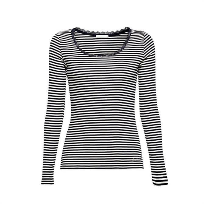 Esprit Striped Long Sleeve Lace Trim Top