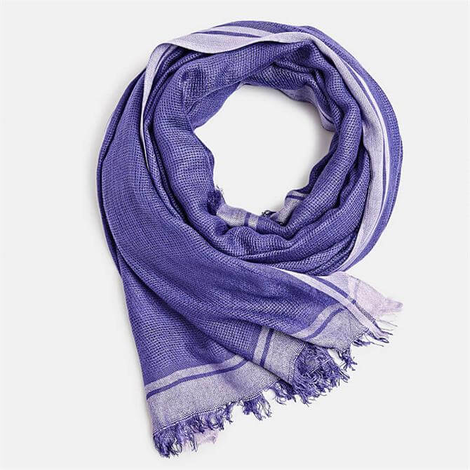 Esprit Violet Woven Scarf with Stripes