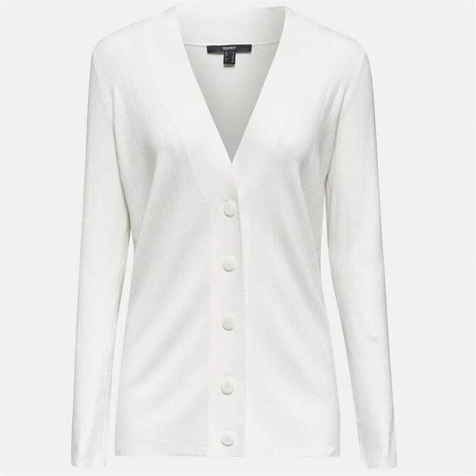 Esprit Longline Wide Rib Off White Cardigan