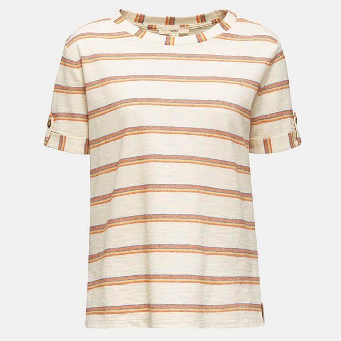 Esprit Womens Multi Stripe Textured T-Shirt
