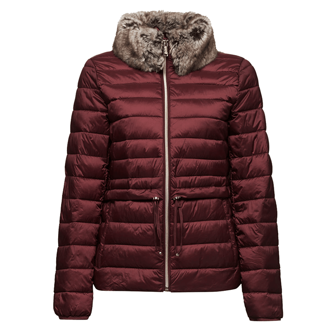 Esprit Women's Quilted Fur Trim Collar Thinsulate Jacket