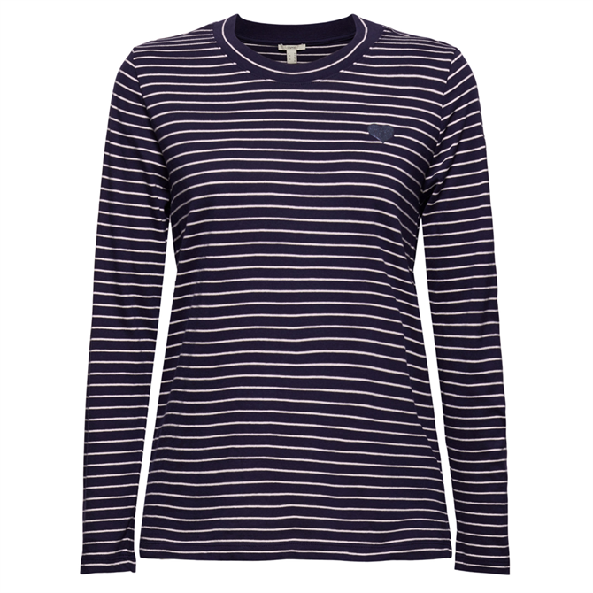 Esprit Long Sleeved Striped Navy Top