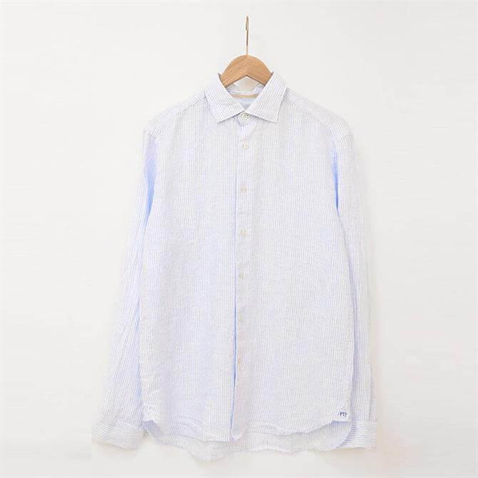 Fil Noir Roma Blue Striped Linen Shirt