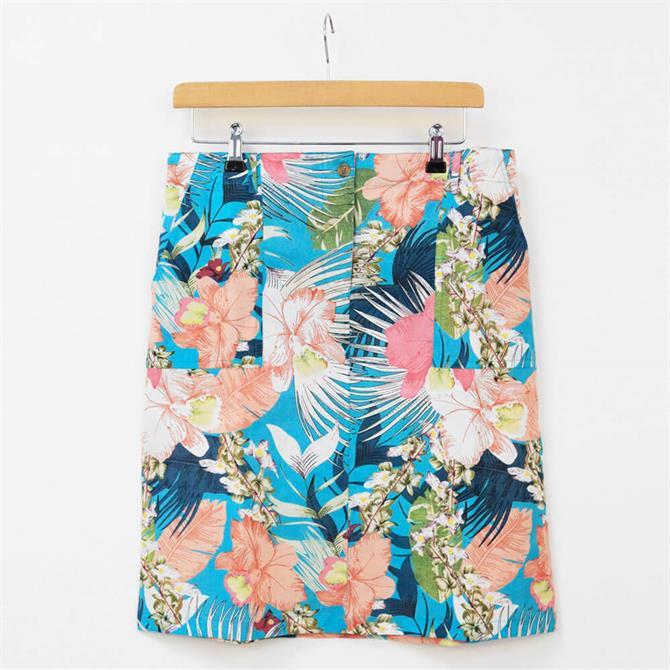 First Avenue Gill Serena Tropical Print Short Skirt