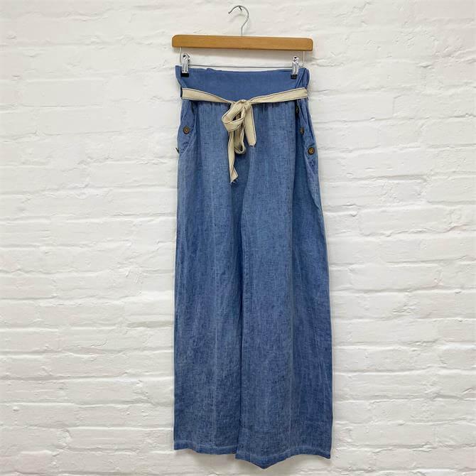 LV Wide Leg Tie Waist Trousers