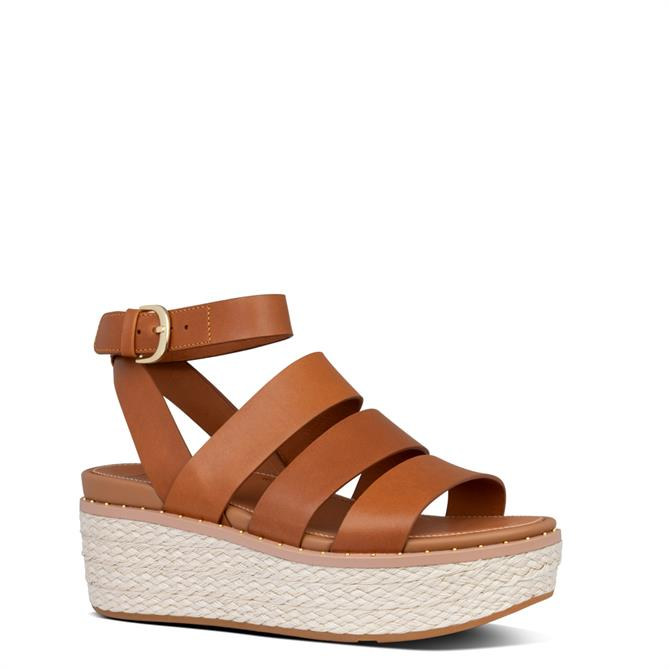 FitFlop™ Eloise Espadrille Leather Back-Strap Light Tan Wedge Sandals
