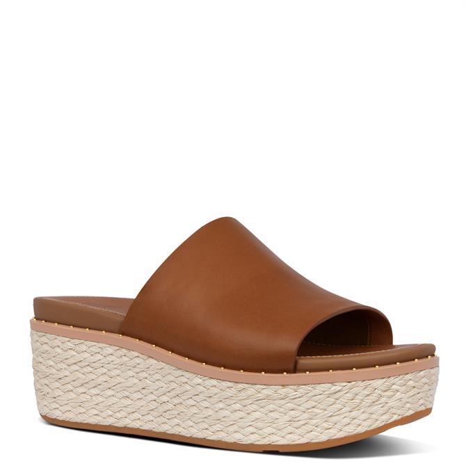 FitFlop™ Eloise Espadrille Leather Light Tan Wedge Slides
