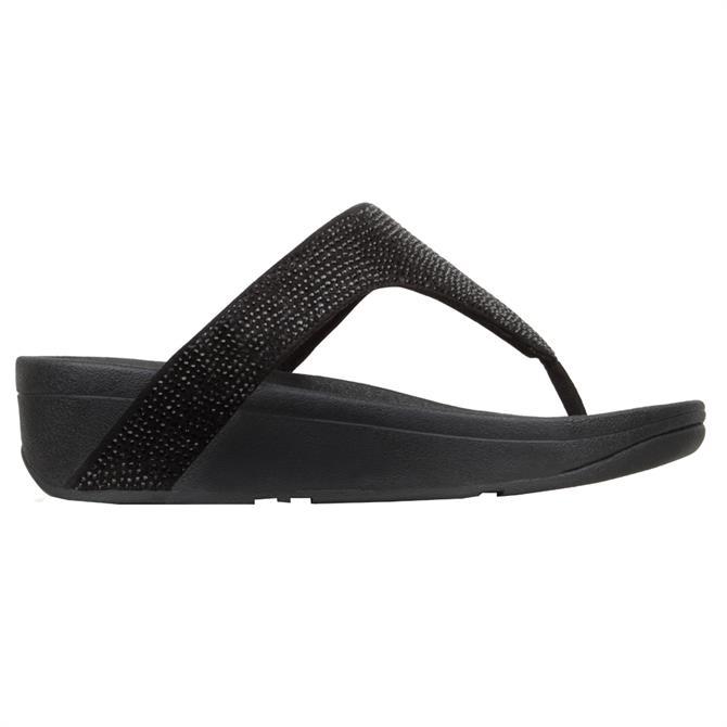 FitFlop™ Lottie Shimmercrystal Black Toe-Post Sandals