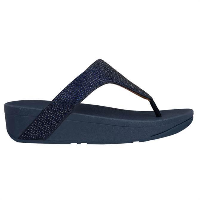 FitFlop™ Lottie Shimmercrystal Midnight Navy Toe-Post Sandals
