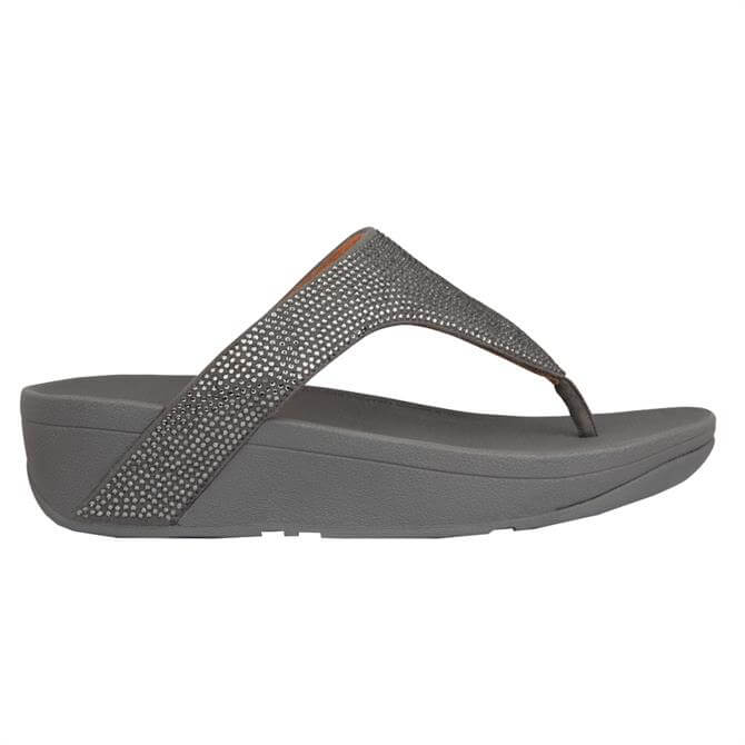 FitFlop™ Lottie Shimmercrystal Pewter Toe-Post Sandals