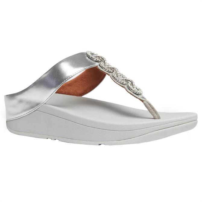 FitFlop™ Fino Sparkle Silver Toe-Post Sandals