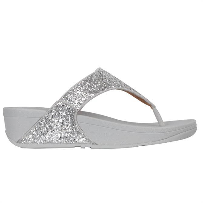FitFlop™ Lulu Glitter Silver Toe-Post Sandals