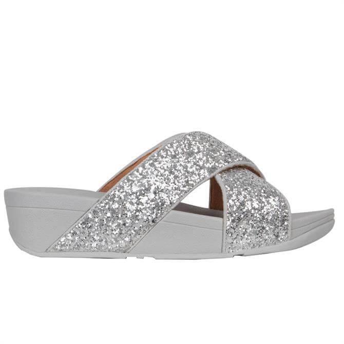 FitFlop™ Lulu Silver Glitter Cross Slides