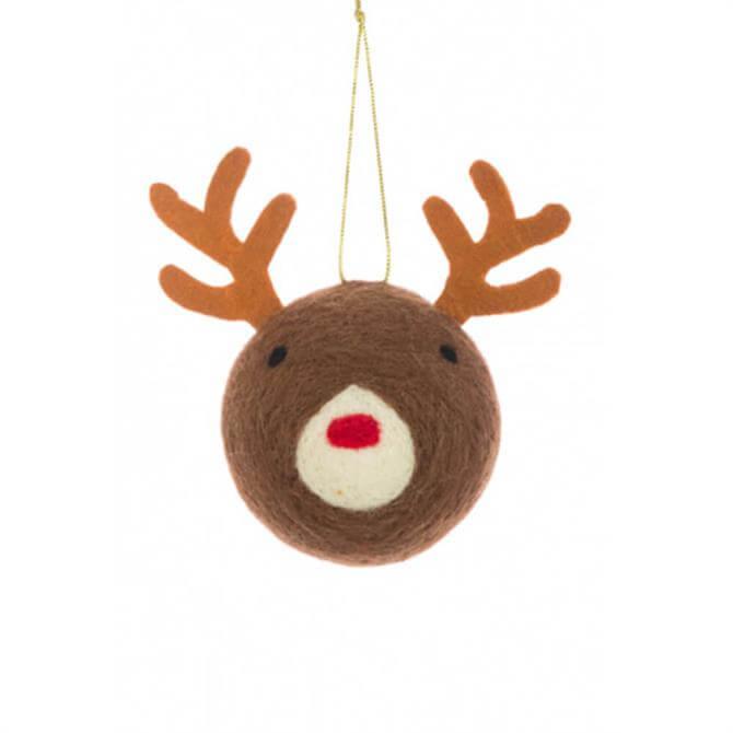 Floralsilk Felt Reindeer Head Bauble