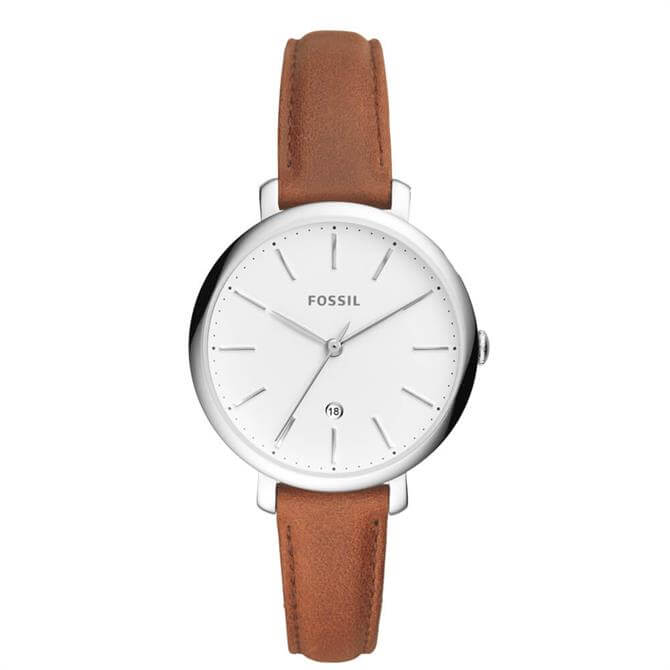 Fossil Jacqueline Three Hand Date Brown Leather Watch