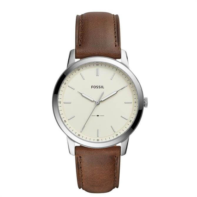 Fossil The Minimalist Three Hand Brown Leather Watch