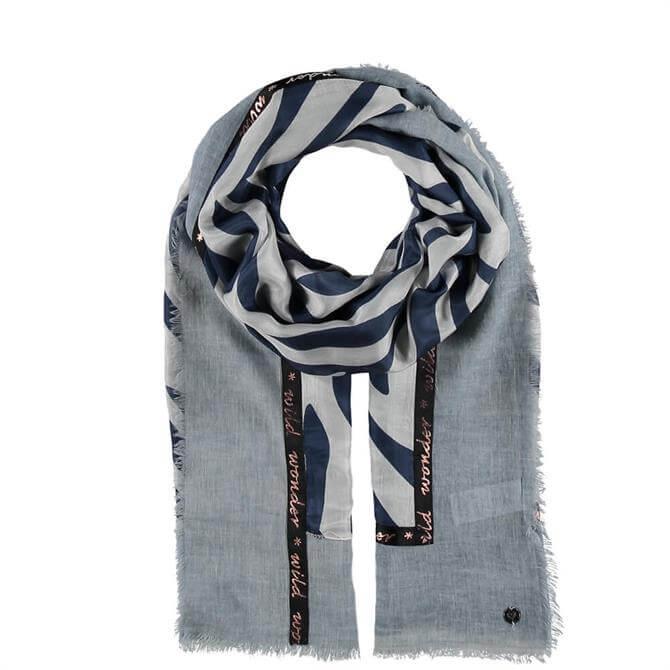 Fraas Blue Zebra Print Cotton/Silk Stole