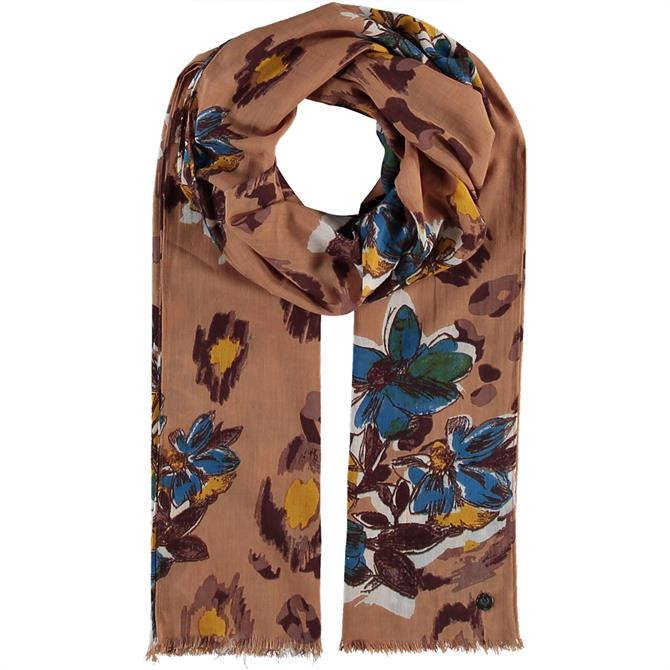 Fraas Ladies Cotton Scarf with Floral Print