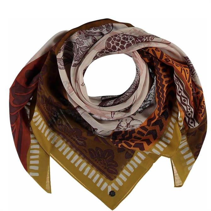Fraas Ladies Animal Cotton/Silk Blend Square Scarf