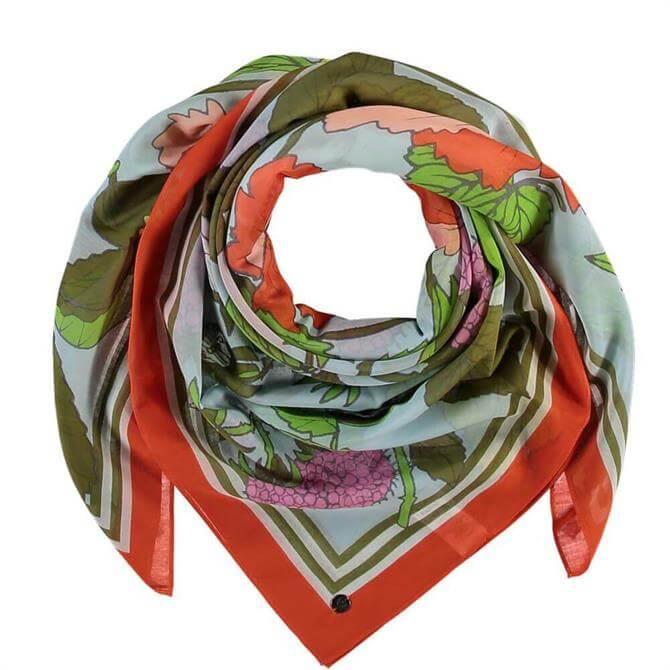 Fraas Ladies Floral Cotton/Silk Blend Square Scarf
