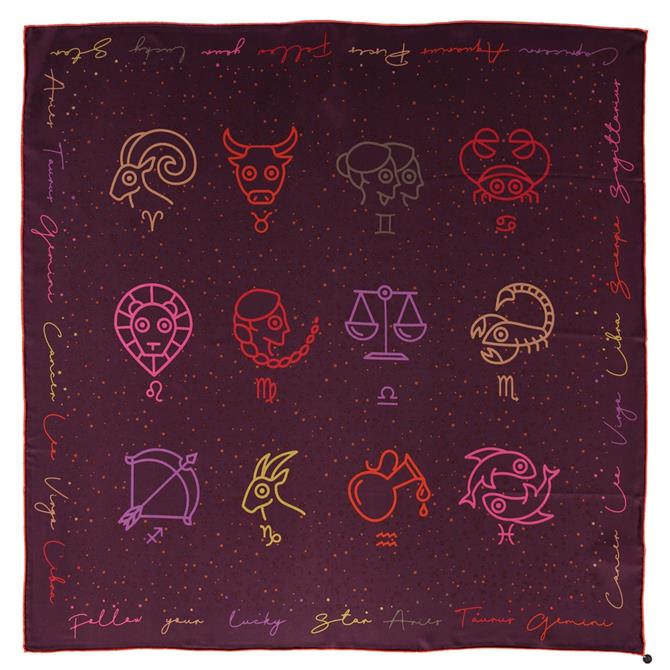 Fraas Star Sign Print Ladies Silk Square Scarf