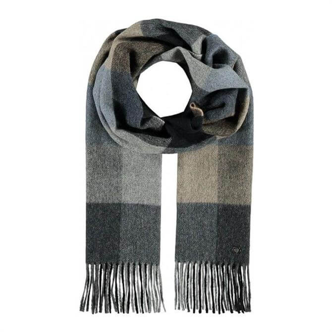 Fraas Wool-Cashmere Blend Checked Pattern Scarf