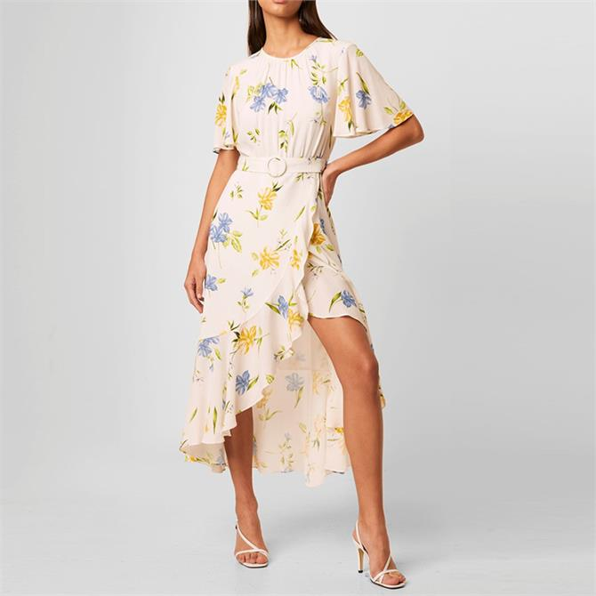 French Connection Emina Drape Belted Floral Dress