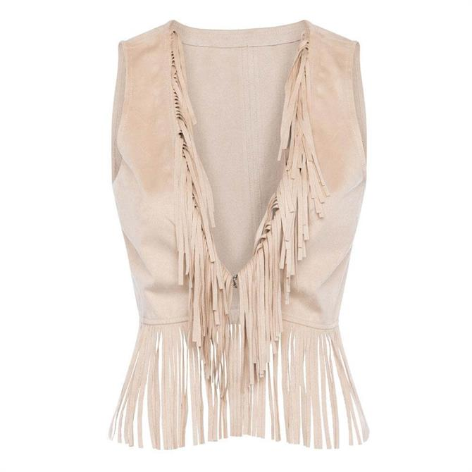 French Connection Avier Suedette Fringed Waistcoat