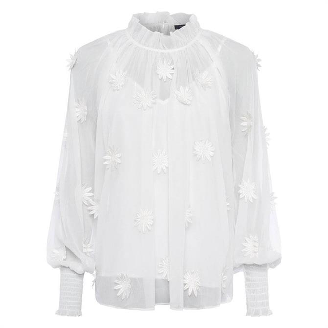 French Connection Aziza Lace Long Sleeve Top