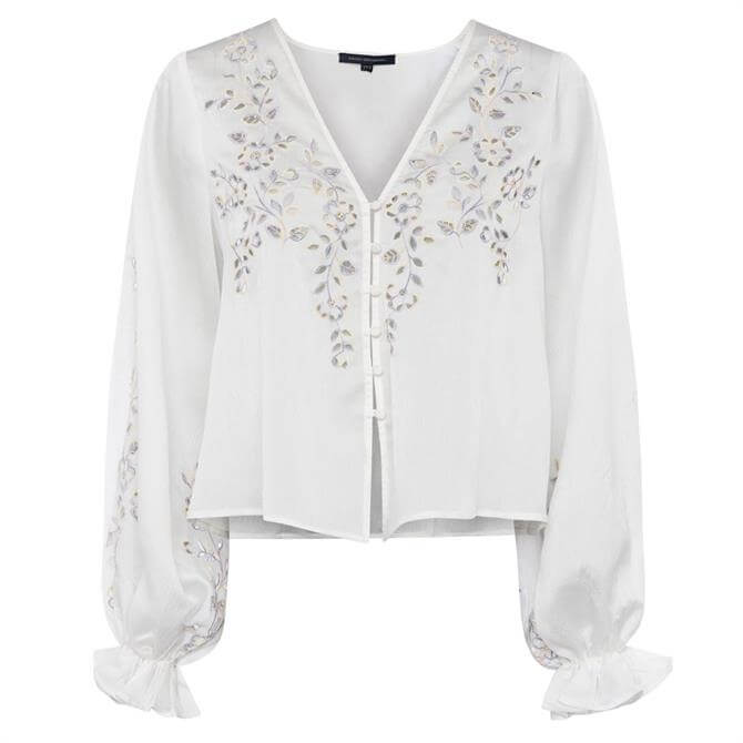 French Connection Gigi Embroidered Drape Blouse