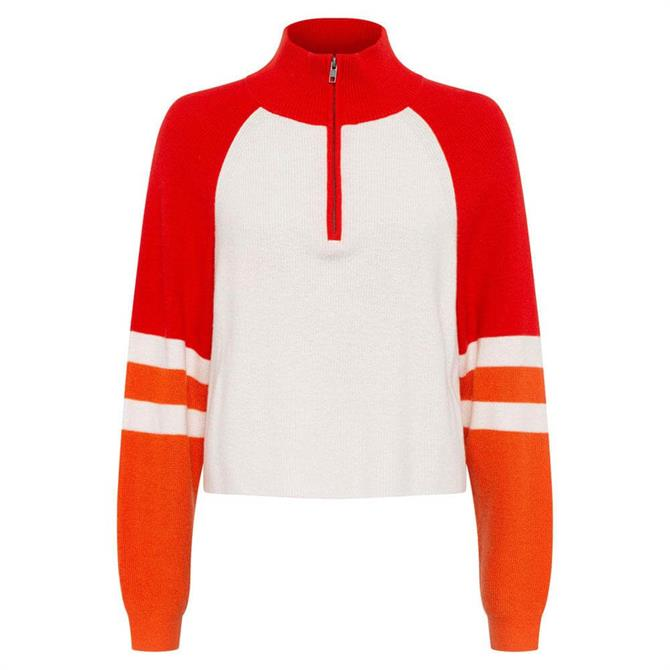 French Connection Martha Colour Block Half Zip Jumper