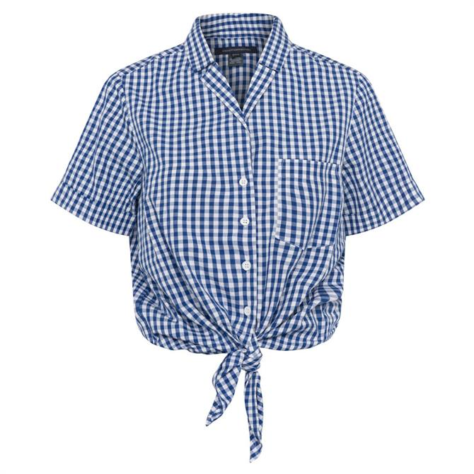 French Connection Rita Check Tie Front Shirt