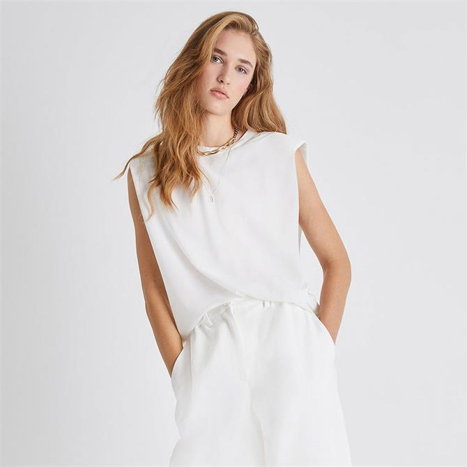 French Connection Shoulder Pad Jersey Tank Top