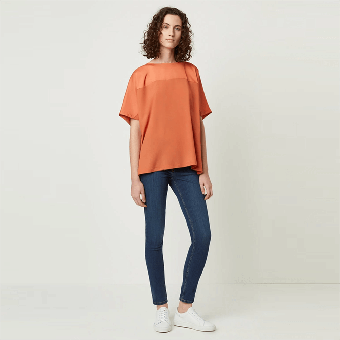 French Connection Tanja Satin Mix Boat Neck Top